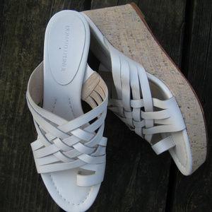 Donald Pliner White Leather Cork Wedge Sandal 9M